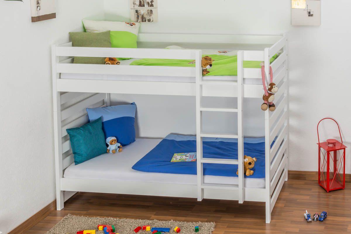 Kinderbett / Etagenbett Buche massiv Vollholz weiß lackiert 119 – Abmessung 90 x 200 cm