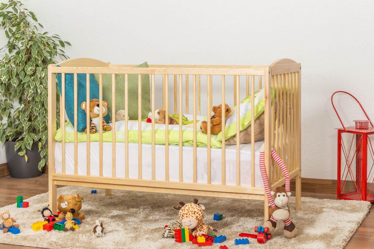 Gitterbett / Kinderbett Kiefer massiv Vollholz natur 103, inkl. Lattenrost - 60 x 120 cm (B x L)