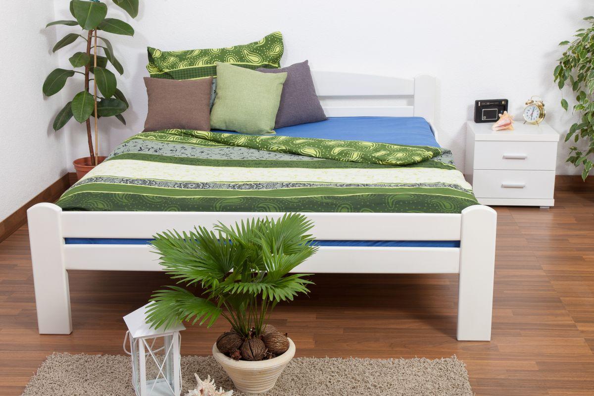 """Doppelbett """"Easy Premium Line"""" K4, 180 x 200 cm Buche Vollholz massiv weiß lackiert"""