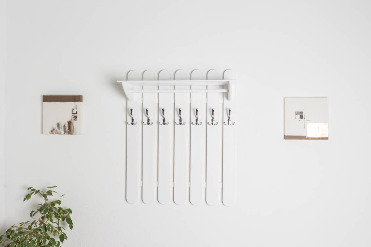 Garderobe Kiefer massiv Vollholz weiß lackiert Junco 346 – Abmessung 100 x 80 x 33 cm