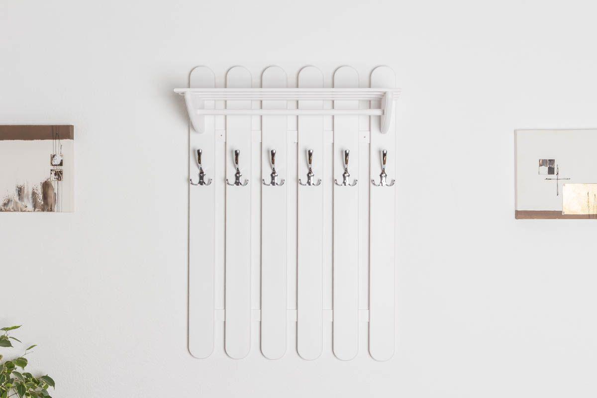 Garderobe Kiefer massiv Vollholz weiß lackiert Junco 347 – Abmessung 100 x 70 x 33 cm