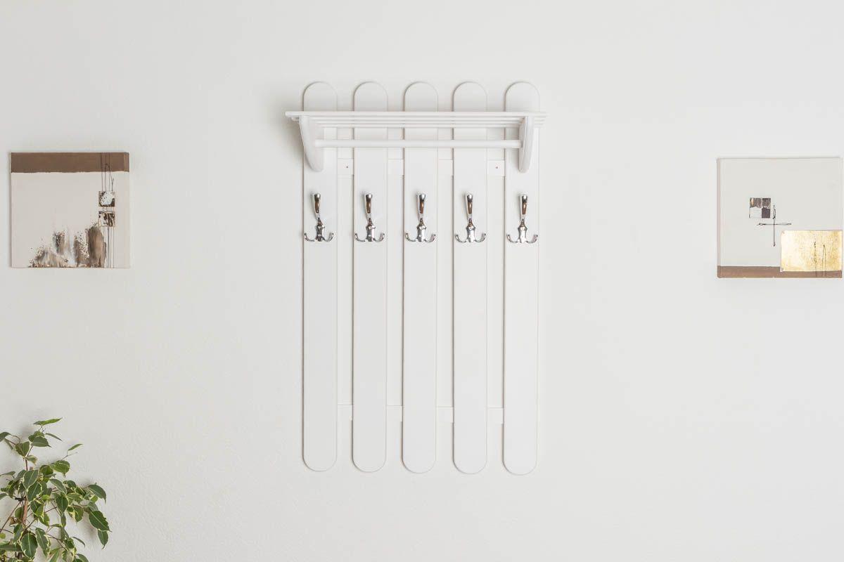 Garderobe Kiefer massiv Vollholz weiß lackiert Junco 348 – Abmessung 100 x 60 x 33 cm