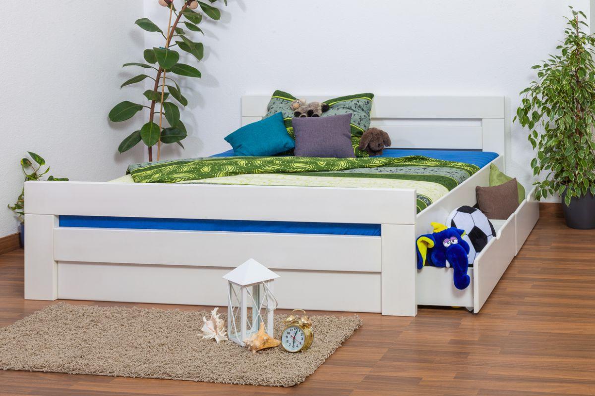 """Doppelbett / Funktionsbett """"Easy Premium Line"""" K6 inkl. 2 Schubladen und 1 Abdeckblende 180 x 200 cm Buche Vollholz massiv weiß lackiert"""