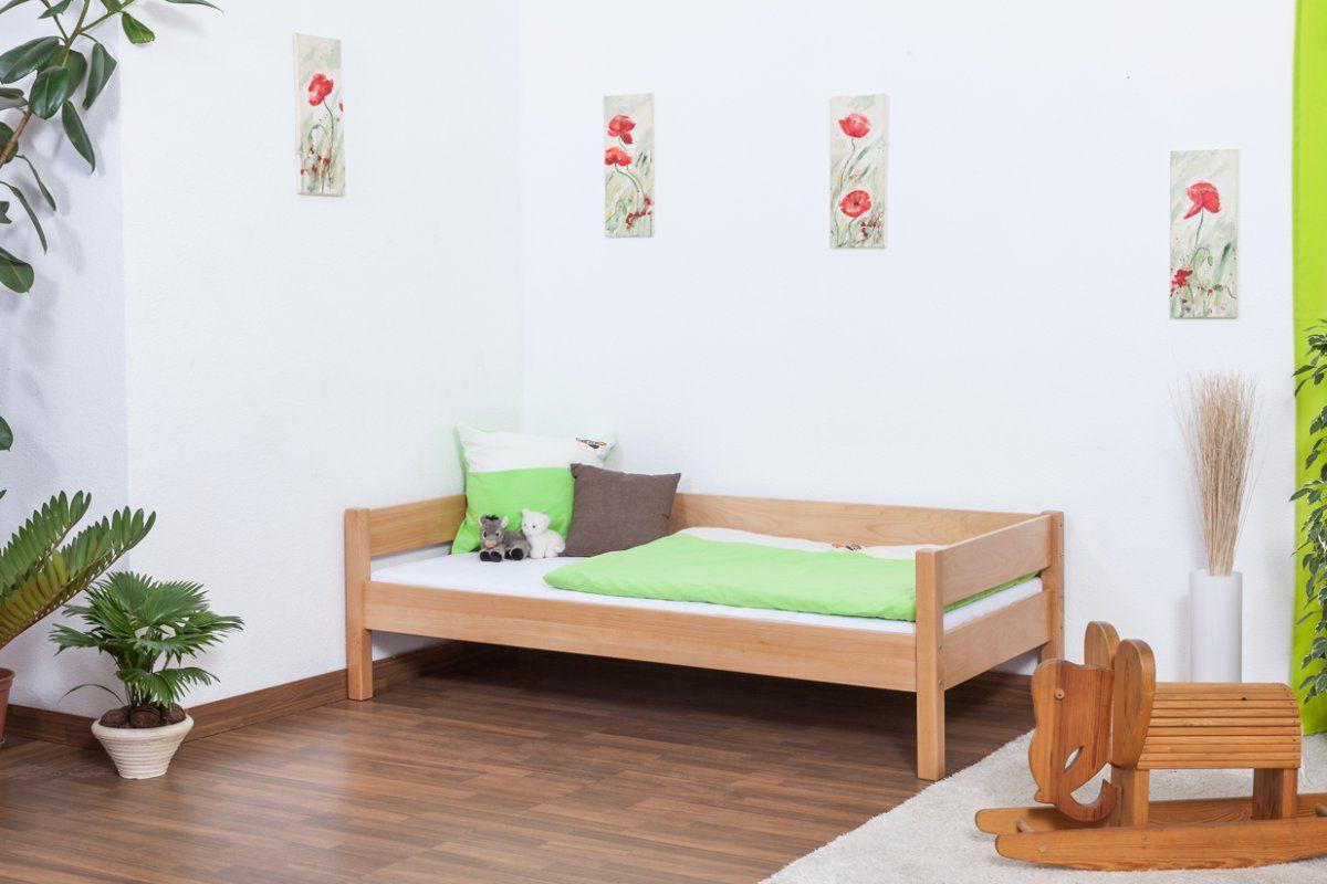 Einzelbett / Gästebett Benedikt Buche Vollholz massiv Natur inkl. Rollrost - 90 x 200 cm
