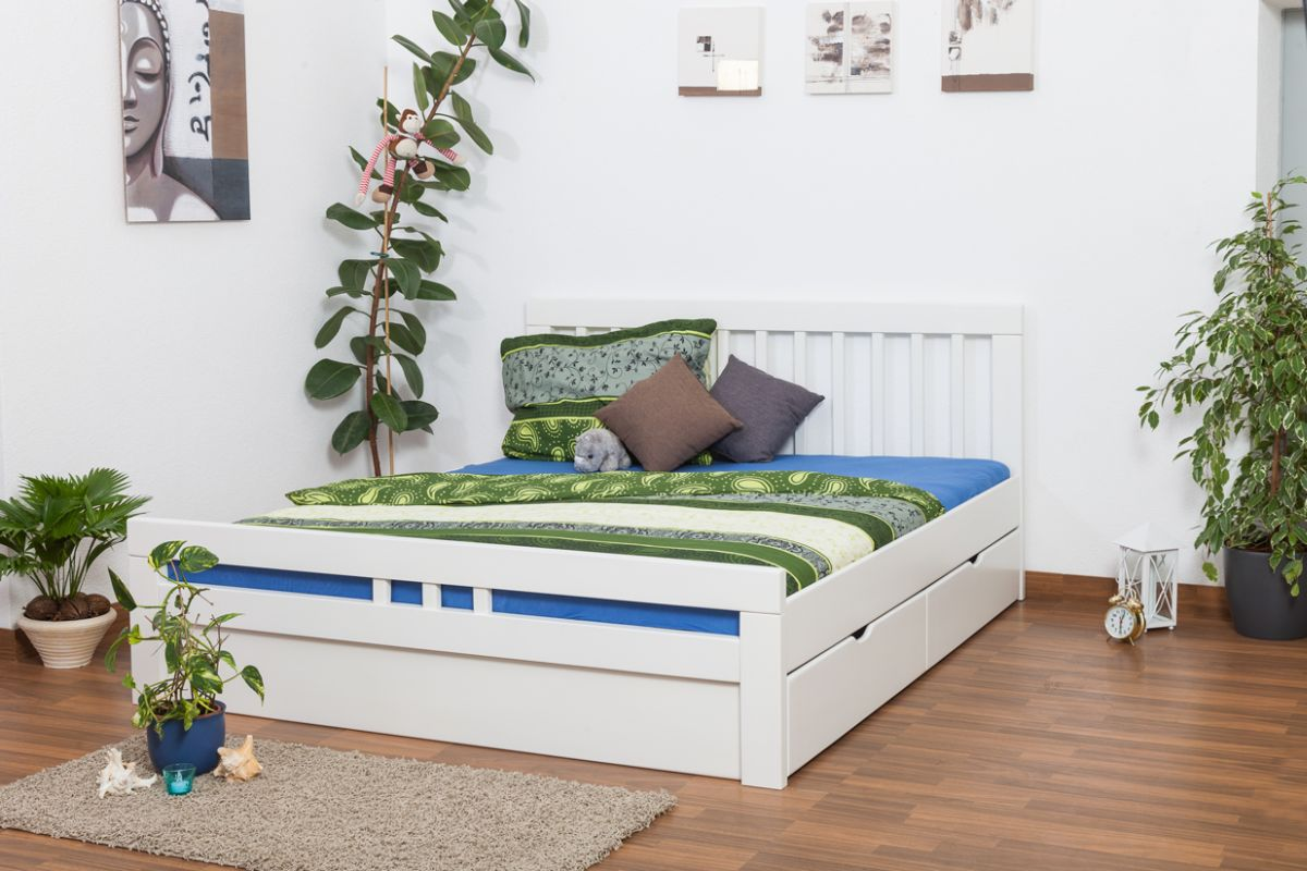 """Doppelbett / Jugendbett """"Easy Premium Line"""" K8 inkl. 2 Schubladen und 1 Abdeckblende, 180 x 200 cm Buche Vollholz massiv weiß lackiert"""