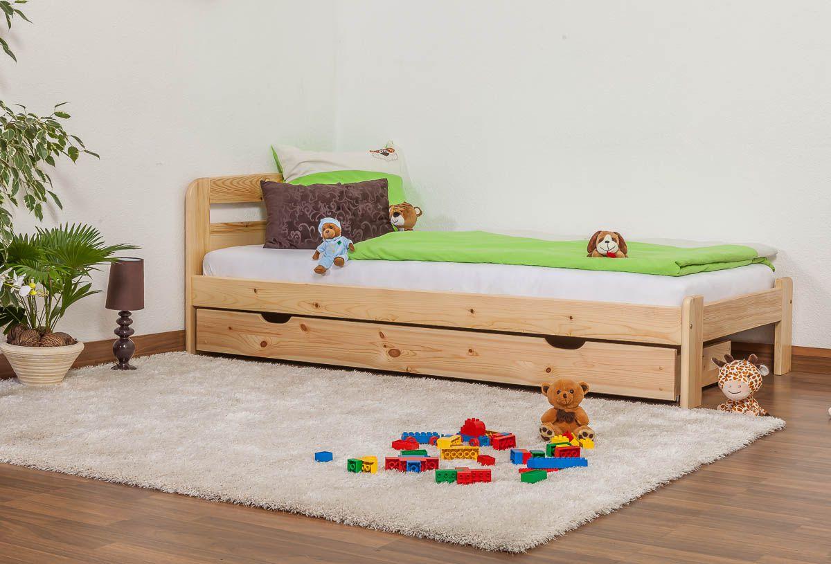 Kinderbett / Jugendbett Kiefer Vollholz massiv natur A5, inkl. Lattenrost - Abmessung 90 x 200 cm