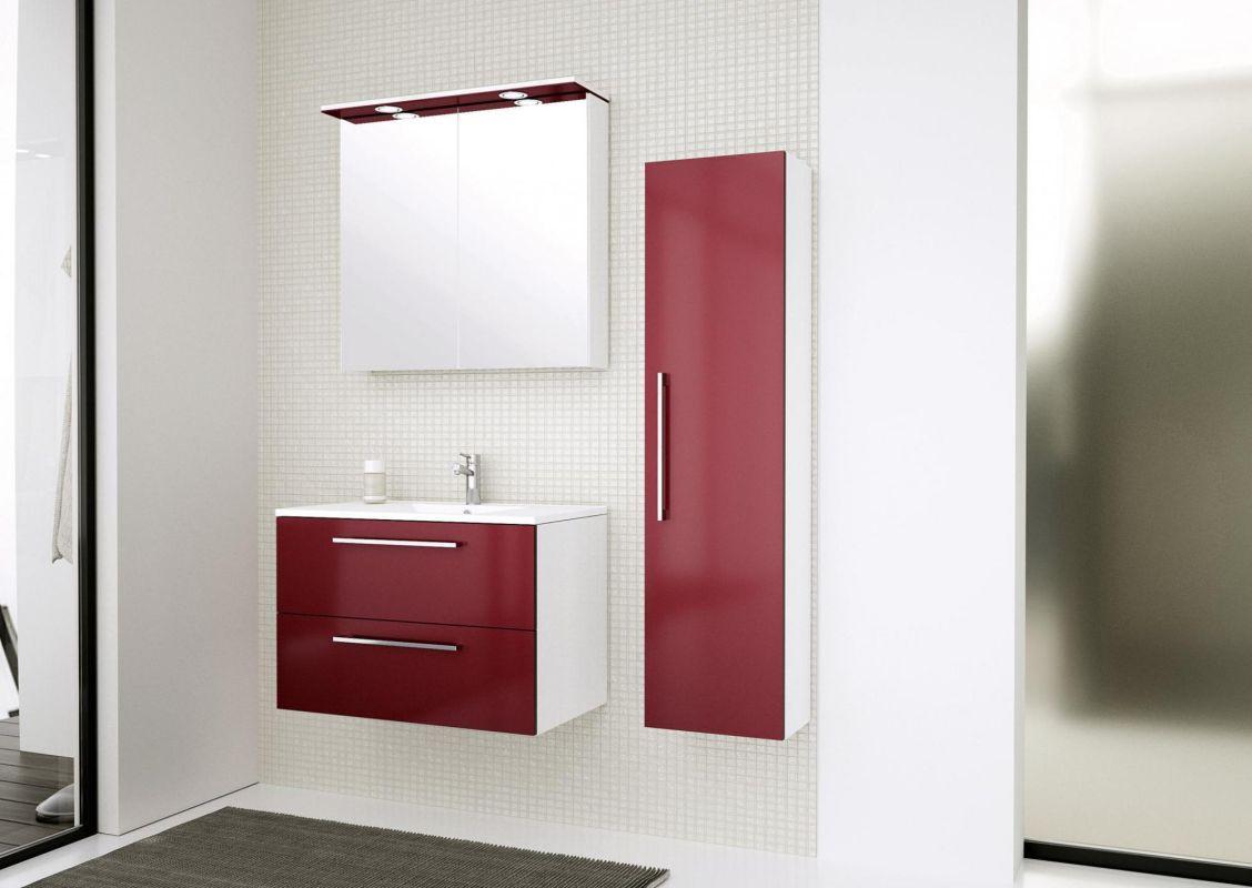 Badmöbel - Set A Bijapur, 3-teilig inkl. Waschtisch / Waschbecken, Farbe: Rot glänzend
