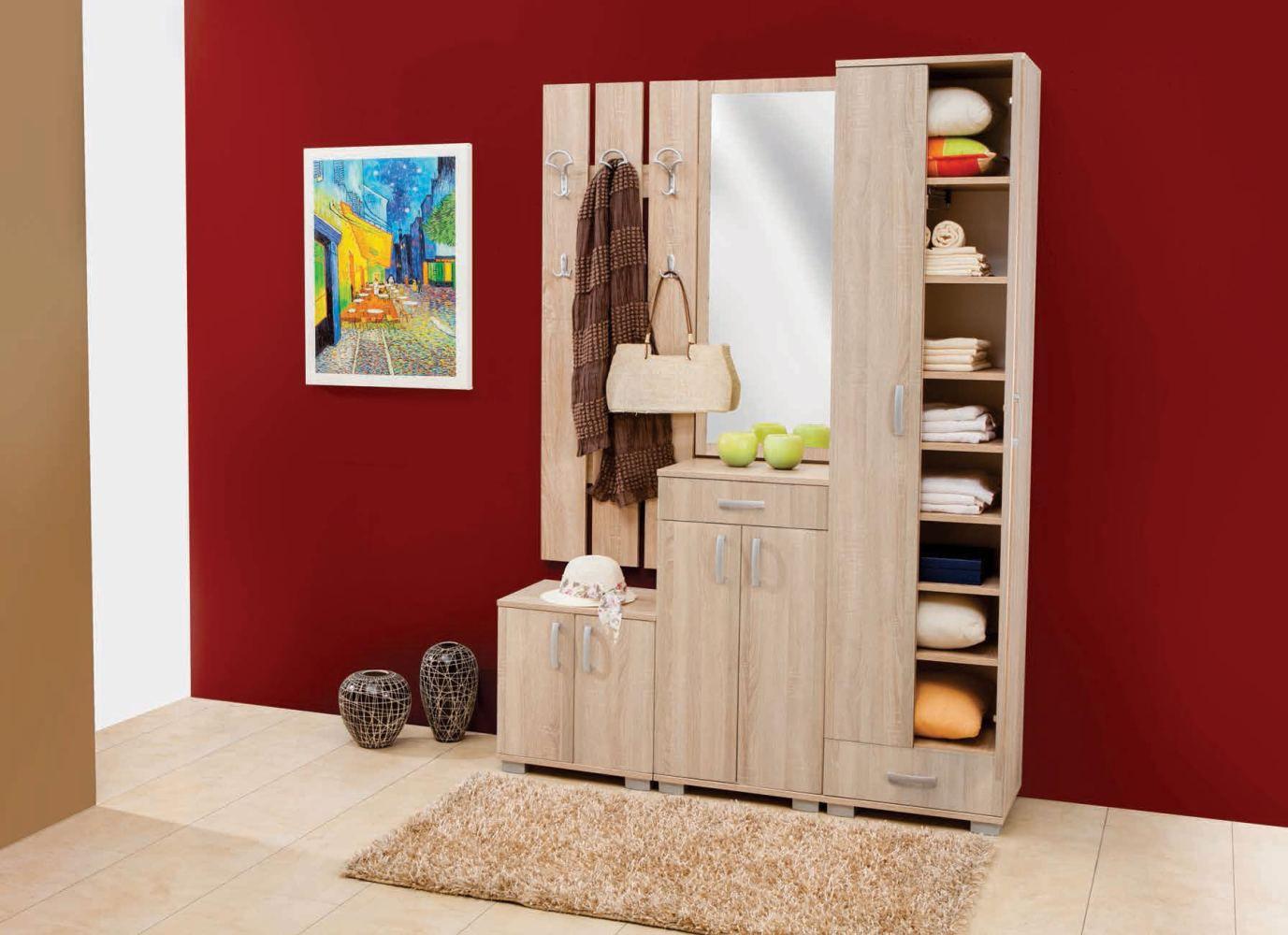 Garderobe Komplett - Set A Ainsa, 4-teilig, Farbe: Eiche Braun