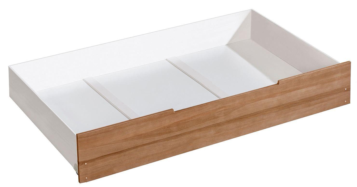 Schublade für Kinderbett / Jugendbett Hermann 01, Farbe: Weiß gebleicht / Nussfarben, massiv - 29 x 90 x 192 cm (H x B x L)