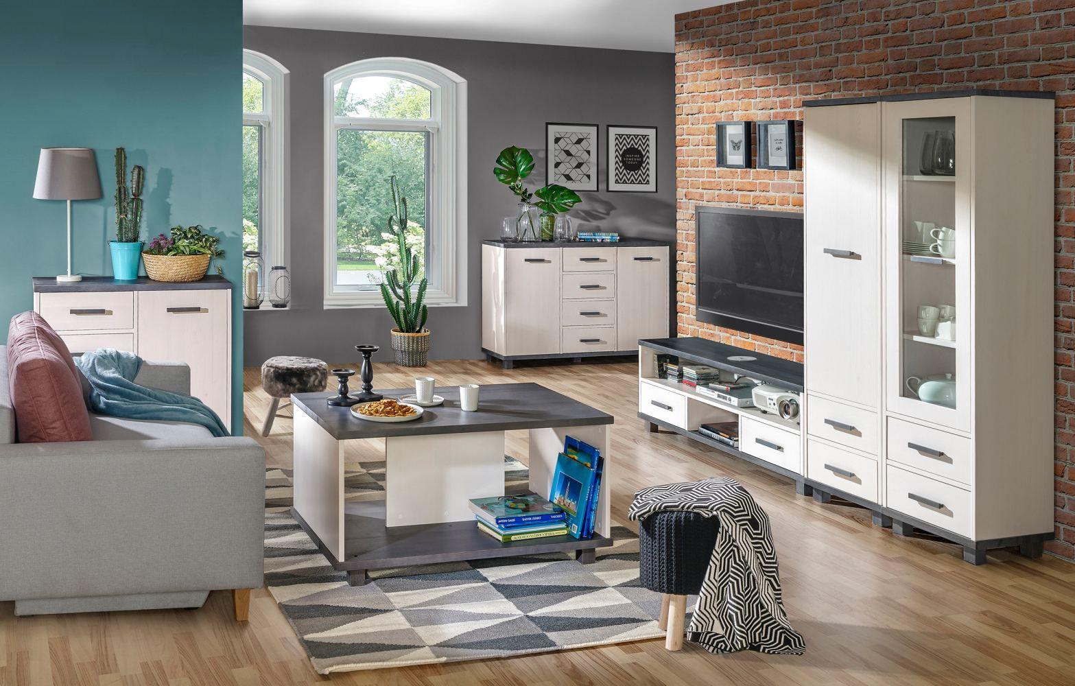 Jugendzimmer Komplett - Set B Hermann, 6-teilig, Farbe: Weiß gebleicht / Grau, teilmassiv