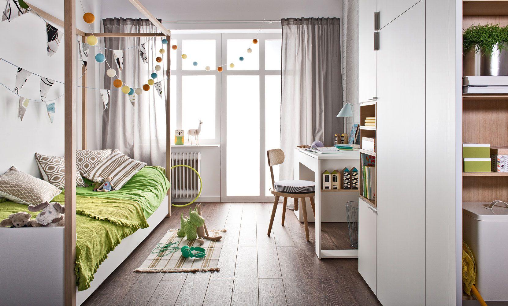 Jugendzimmer Komplett - Set A Minnea, 4-teilig, Farbe: Weiß / Eiche
