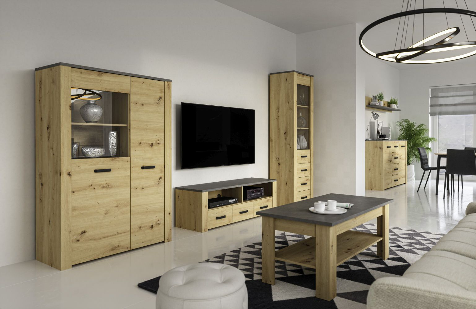 Wohnzimmer Komplett - Set A Talimatau, 5-teilig, Farbe: Eiche / Grau
