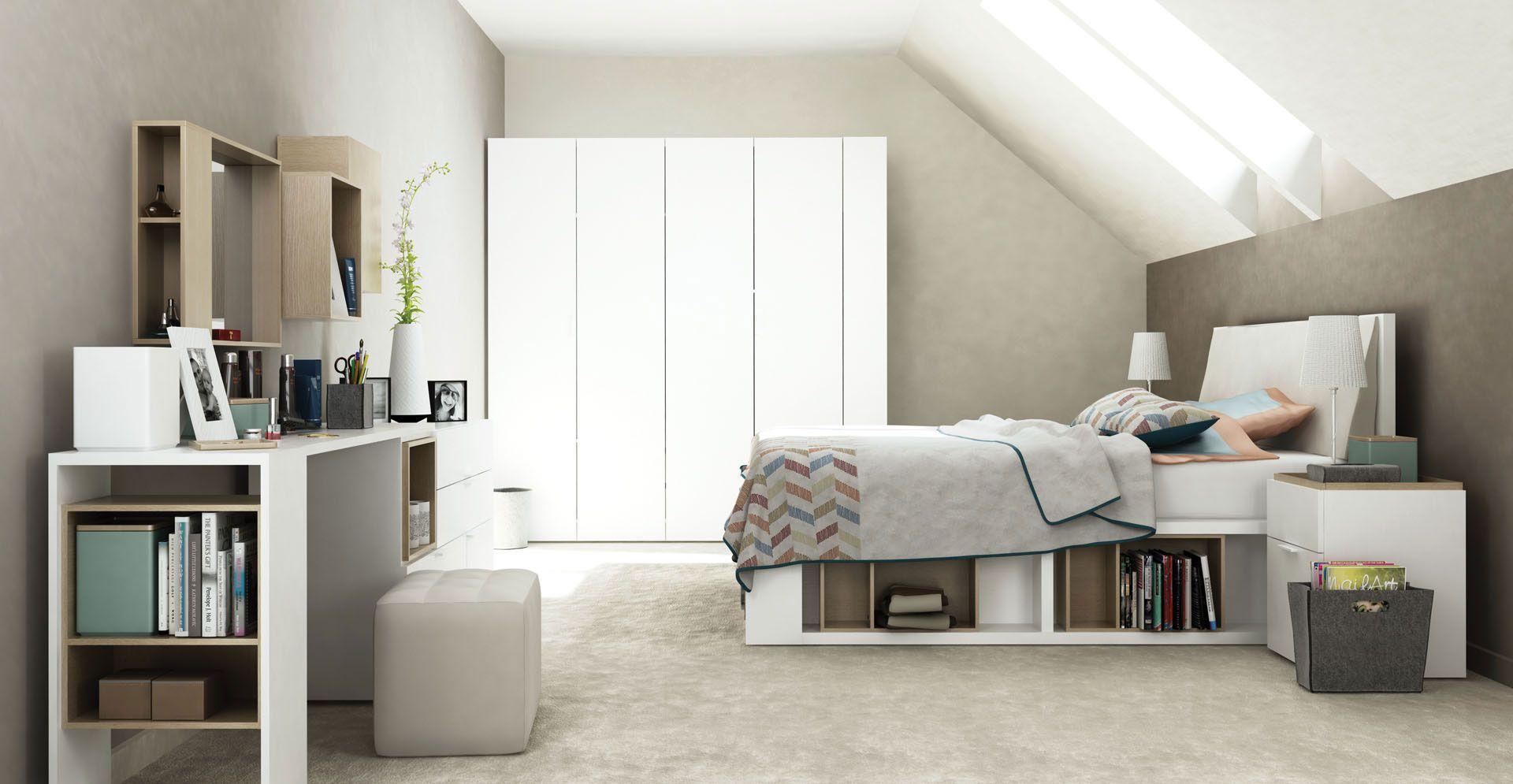 Schlafzimmer Komplett - Set C Minnea inkl. Rahmenlattenrost, 9-teilig, Farbe: Weiß / Eiche