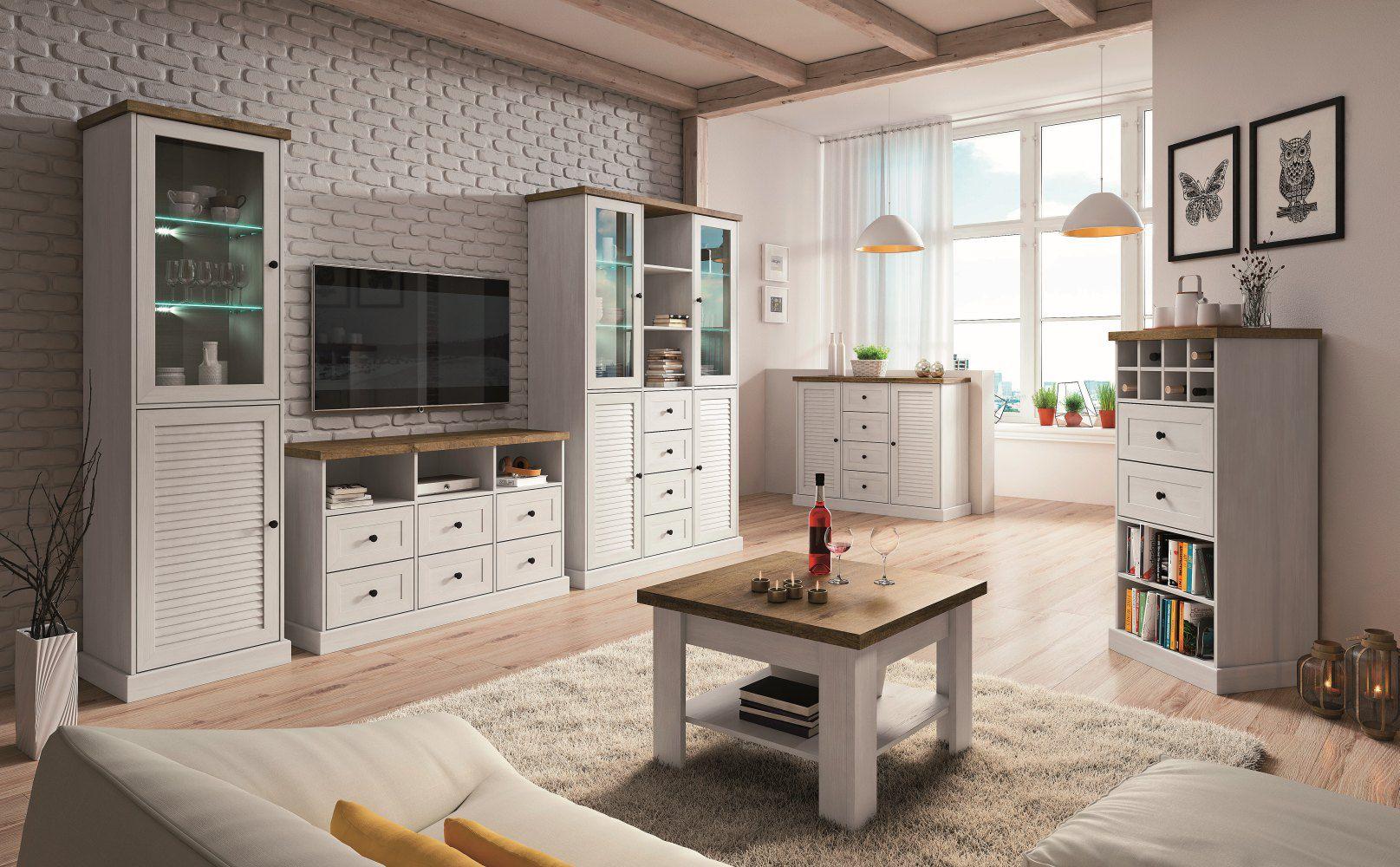 Wohnzimmer Komplett - Set A Lägern, 6-teilig, Farbe: Kiefer Weiß / Eiche Braun