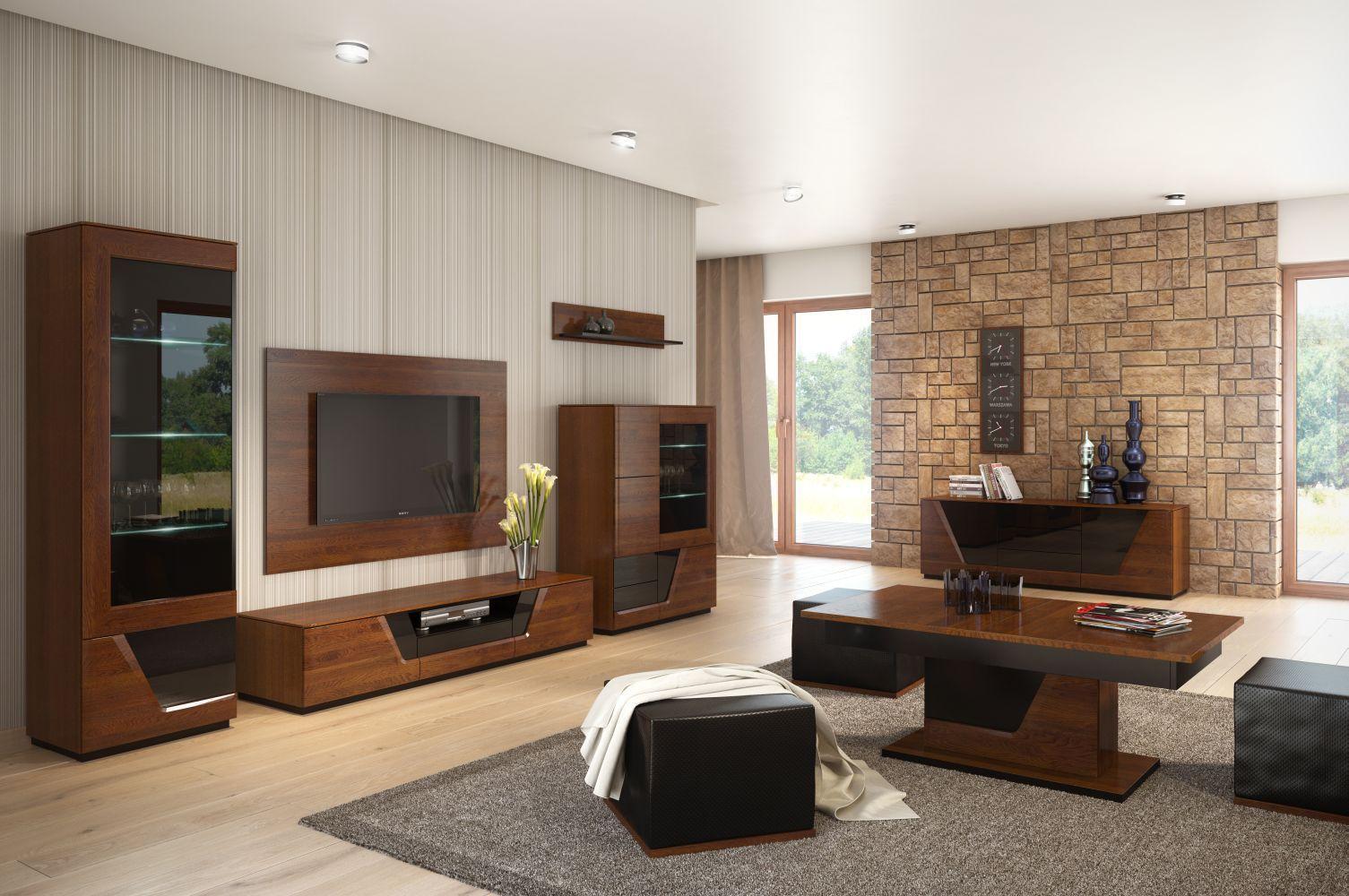 Wohnzimmer Komplett - Set F Medulin, 10-teilig, teilmassiv, Farbe: Walnuss / Schwarz