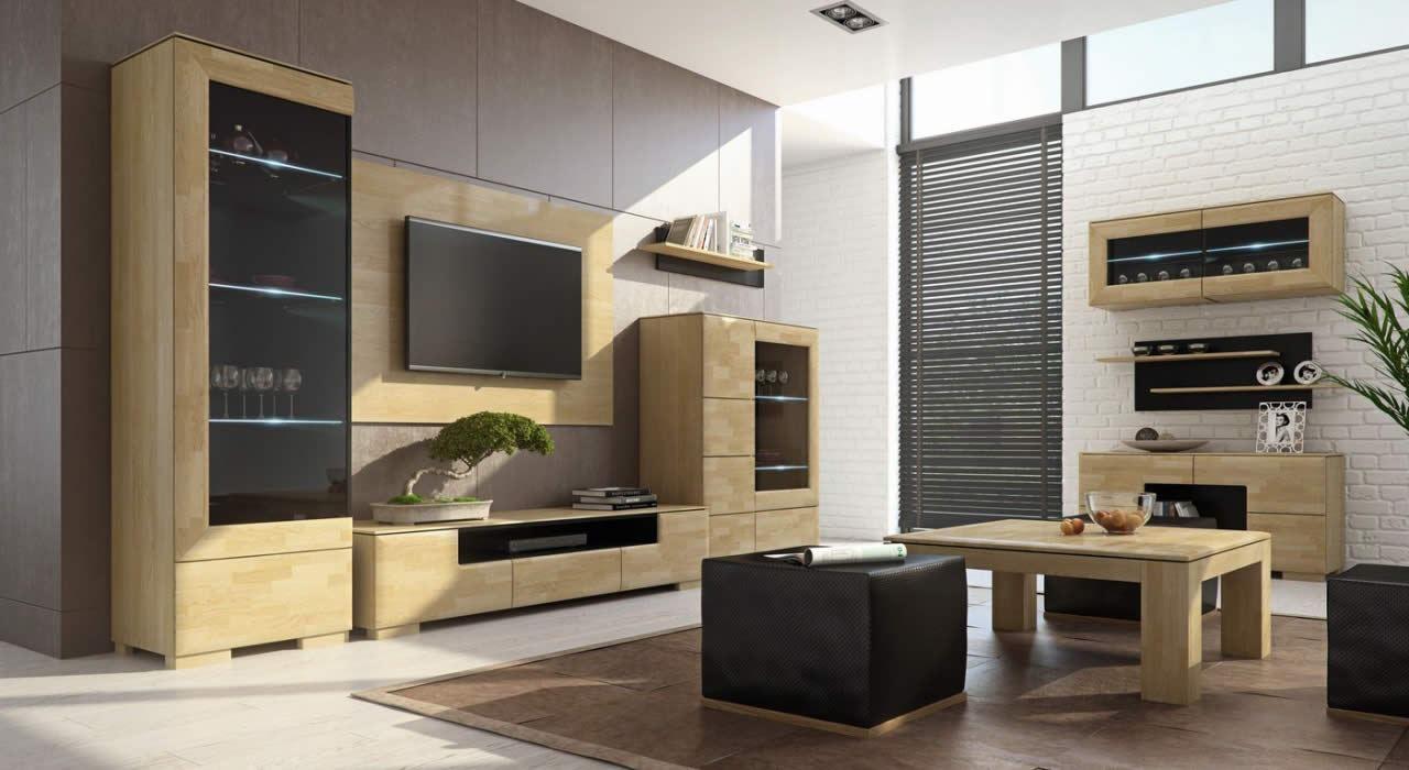 Wohnzimmer Komplett - Set L Lipik, 12-teilig, teilmassiv, Farbe: Eiche / Schwarz