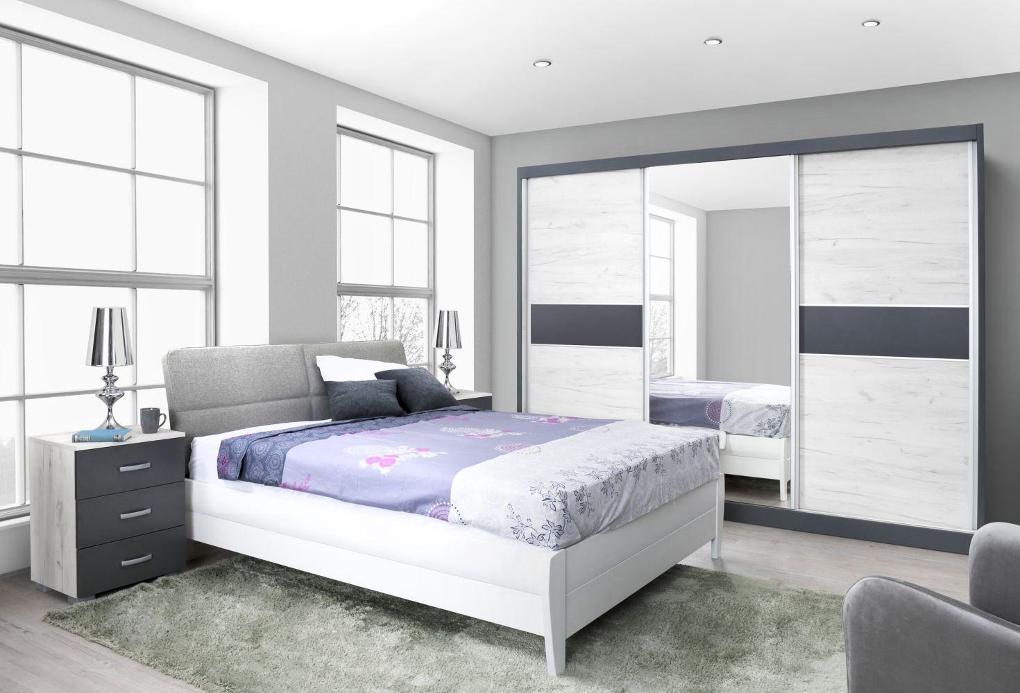 Schlafzimmer Komplett - Set C Aneto, 4-teilig, teilmassiv, Farbe: Eiche Weiß / Anthrazit / Weiß