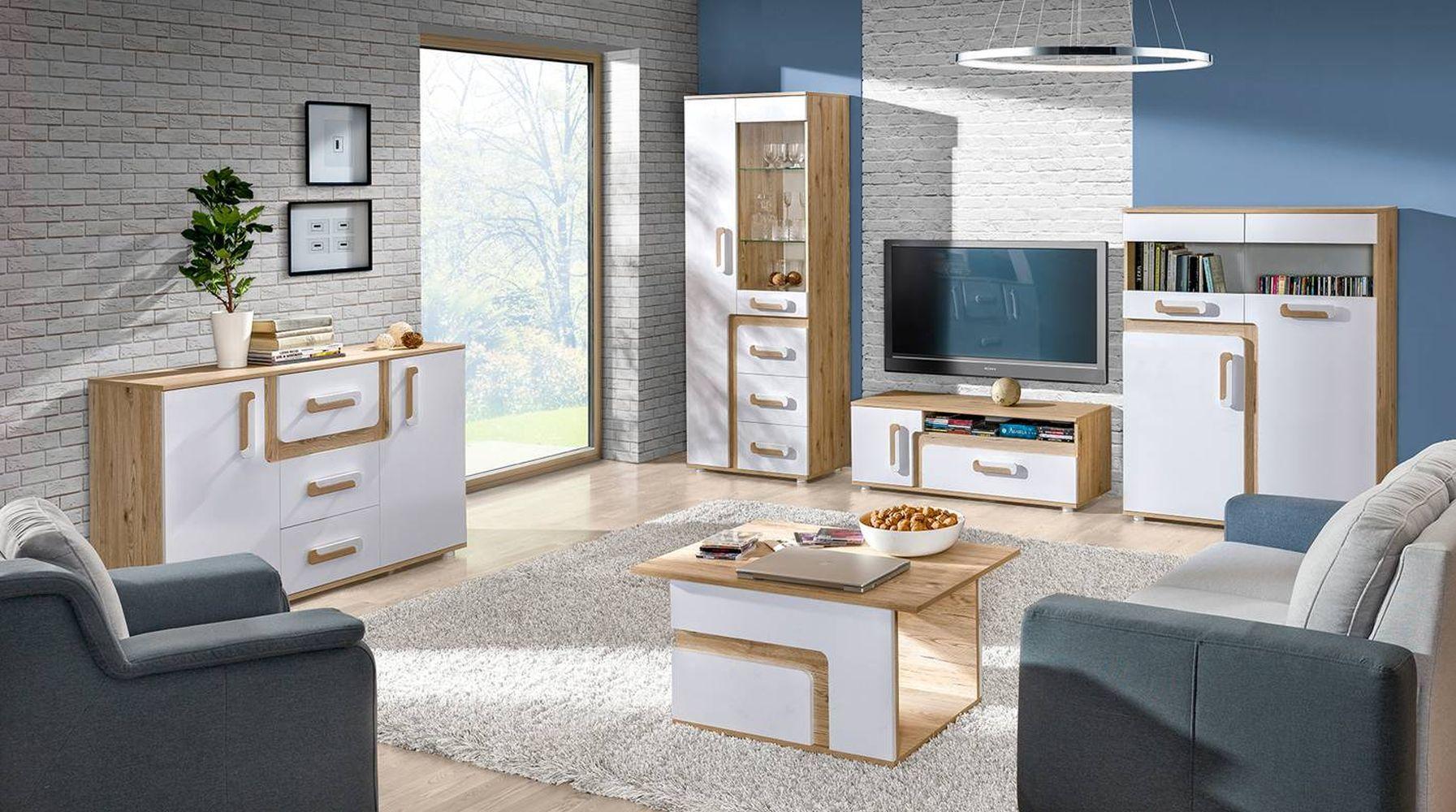 Wohnzimmer Komplett - Set E Oskar, 5-teilig, Farbe: Eiche Hellbraun / Weiß