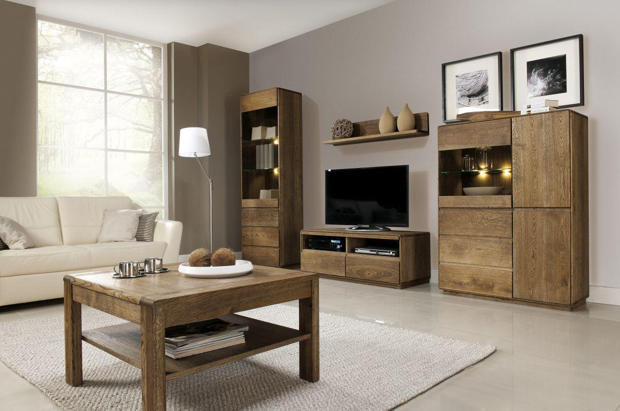 Wohnzimmer Komplett - Set K Fazenda, 5 - teilig, teilmassiv, Farbe: Dunkelbraun