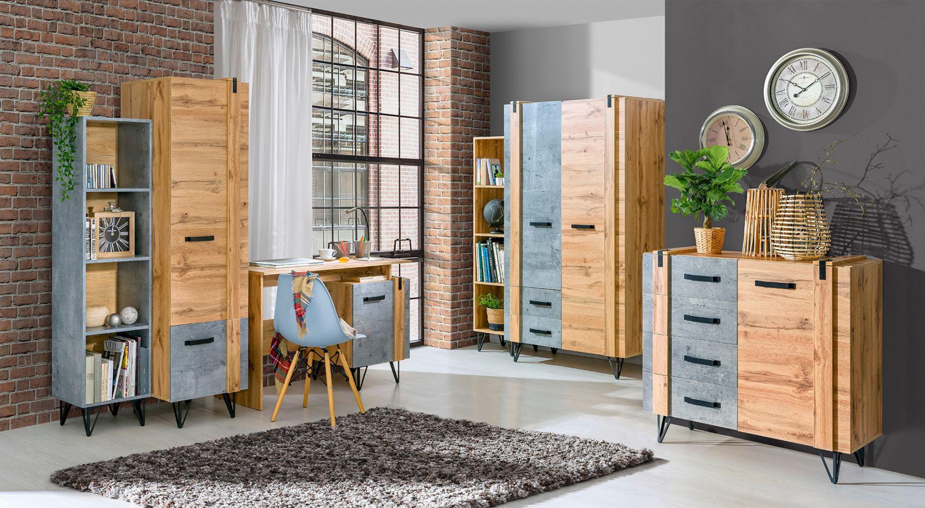 Wohnzimmer Komplett - Set G Atule, 6-teilig, Farbe: Eiche / Grau