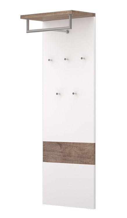 Garderobe Sagone 03, Farbe: Eiche Dunkelbraun / Weiß - Abmessungen: 142 x 50 x 27 cm (H x B x T)