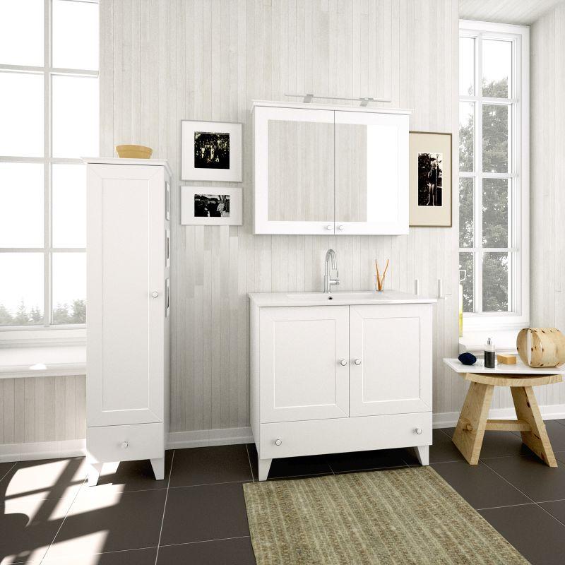 Badmöbel - Set B Dindigul, 3-teilig inkl. Waschtisch / Waschbecken, Farbe: Weiß matt