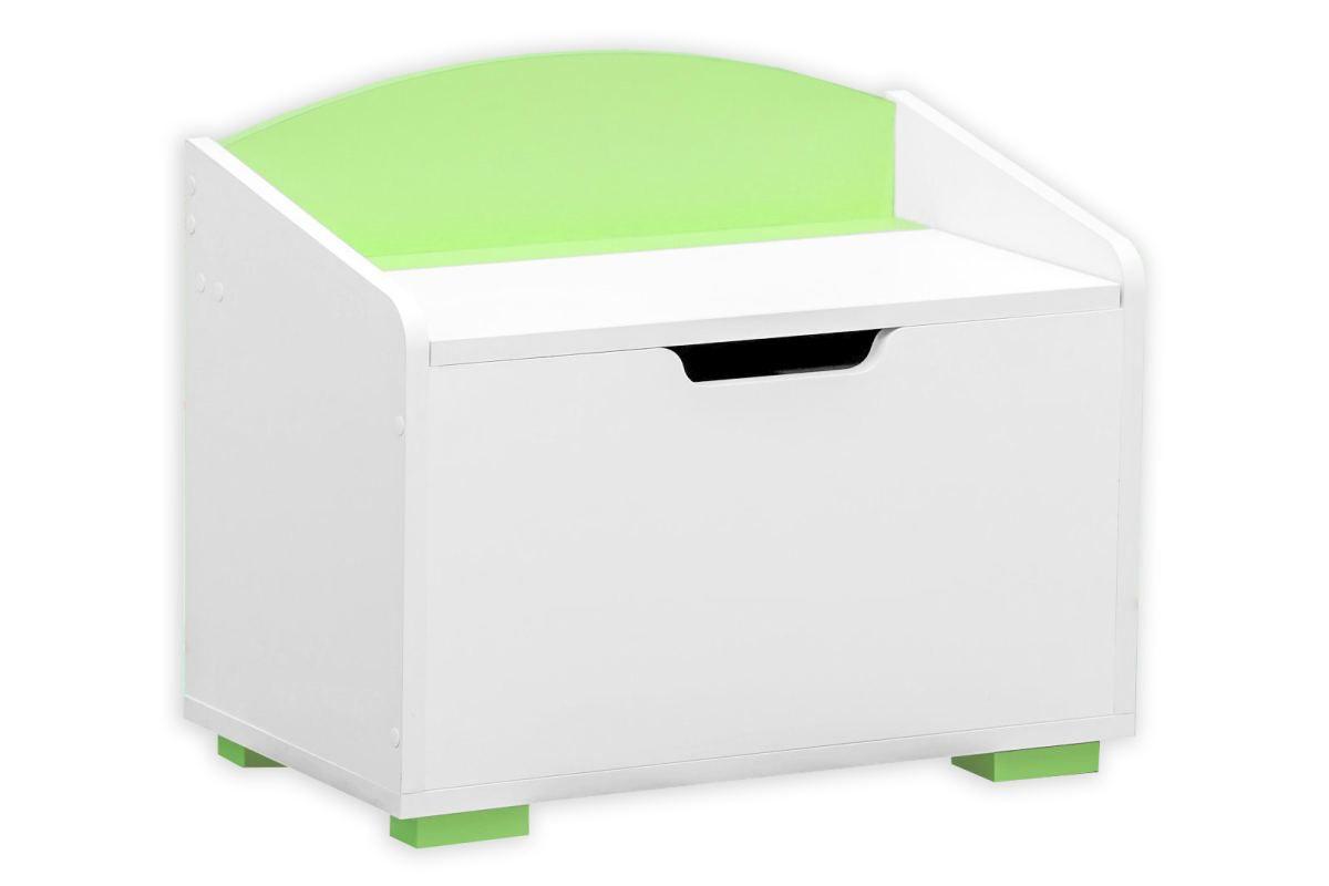 Kinderzimmer - Truhe Daniel 07, Farbe: Weiß / Grün - 50 x 60 x 35 cm (H x B x T)