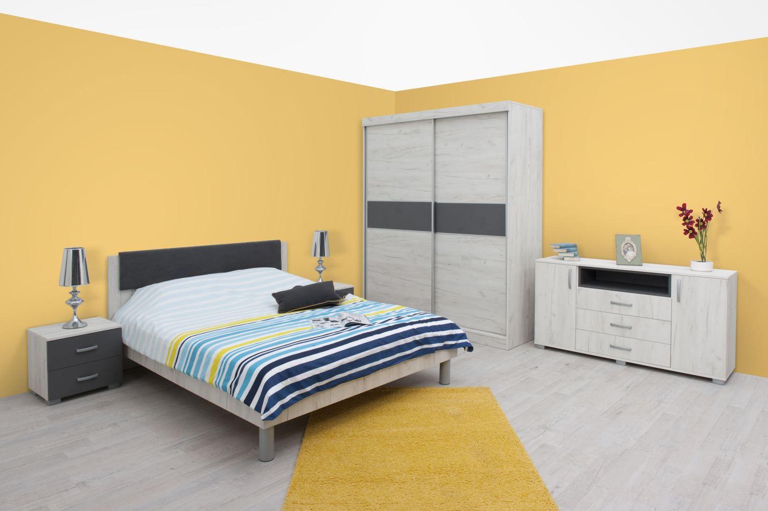 Schlafzimmer Komplett - Set F Bermeo, 6-teilig, Farbe: Eiche Weiß / Anthrazit