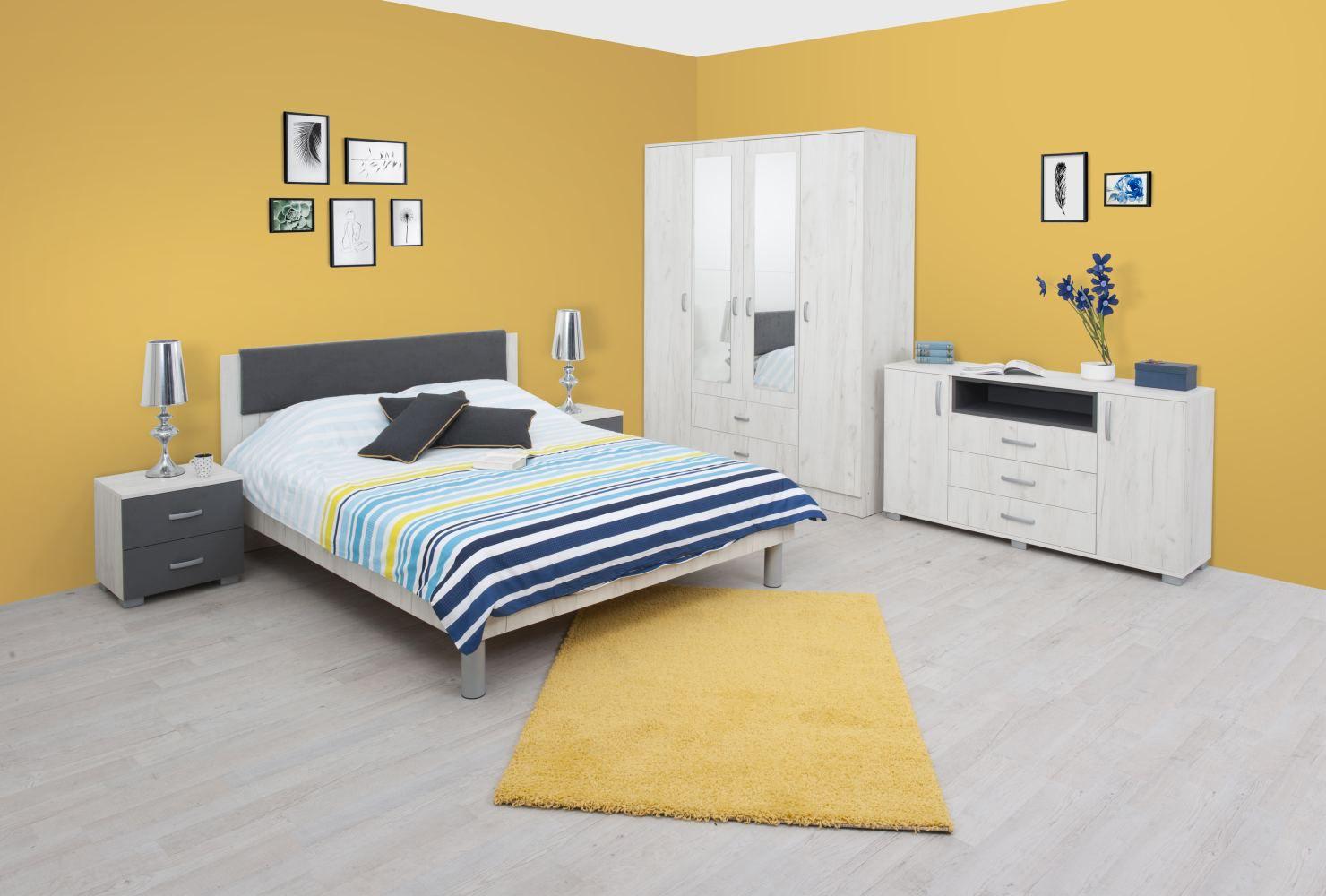 Schlafzimmer Komplett - Set K Bermeo, 6-teilig, Farbe: Eiche Weiß / Anthrazit