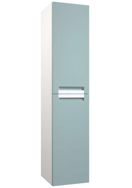 Badezimmer - Hochschrank Purina 24, Farbe: Aquamarin / Weiß – 138 x 35 x 25 cm (H x B x T)