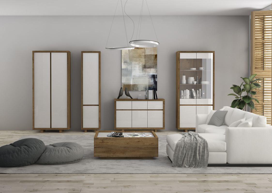 Wohnzimmer Komplett - Set A Brisen, 5-teilig, Farbe: Braun / Weiß Hochglanz
