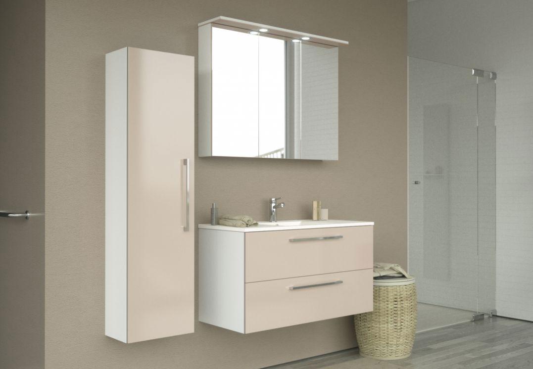 Badmöbel - Set C Bijapur, 3-teilig inkl. Waschtisch / Waschbecken, Farbe: Beige glänzend