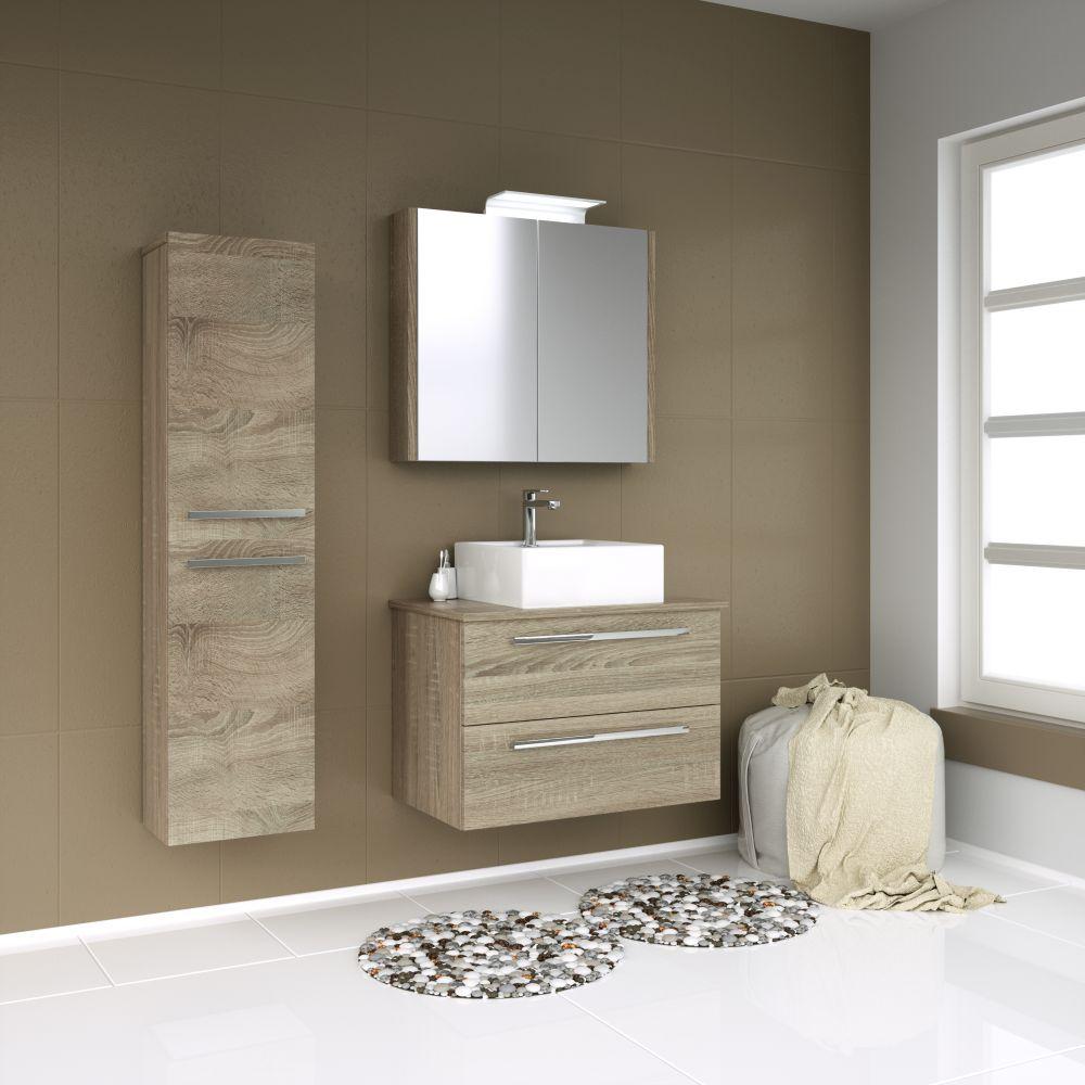Badmöbel - Set D Bidar, 3-teilig inkl. Waschbecken, Farbe: Eiche