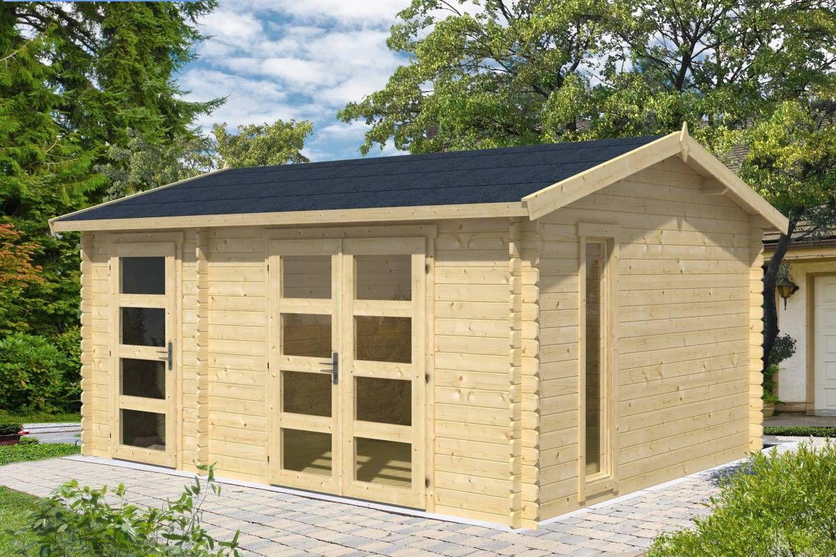 Gartenhaus G99 - 28 mm Blockbohlenhaus, Grundfläche: 16,40 m², Satteldach