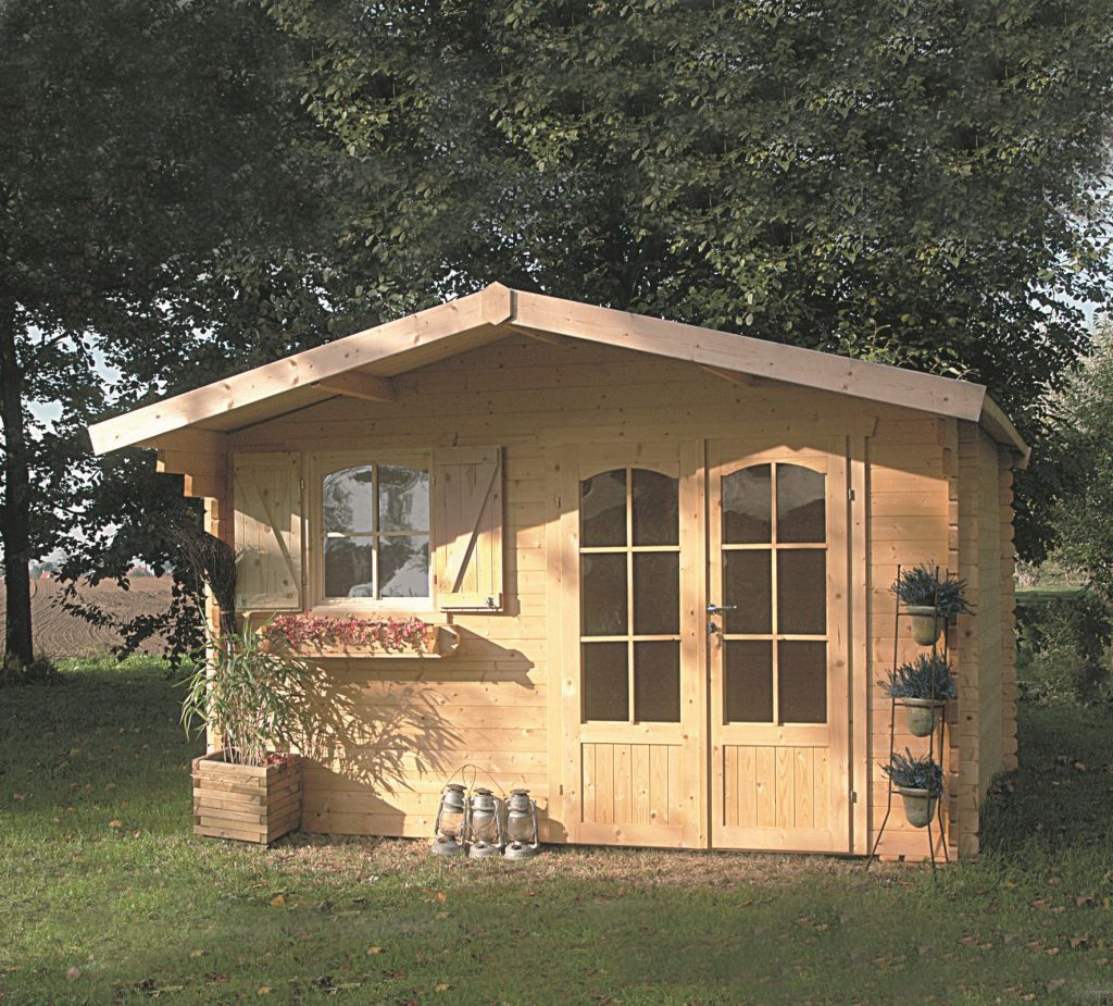 Gartenhaus Betula S8982 - 40 mm Blockbohlenhaus, Grundfläche: 10,99 m², Satteldach