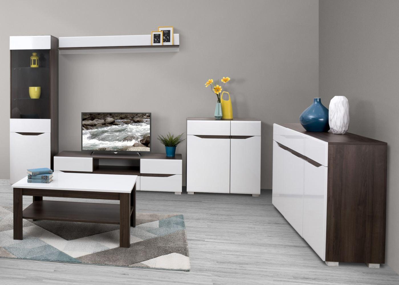 Wohnzimmer Komplett - Set D Comillas, 6-teilig, Farbe: Nuss / Weiß