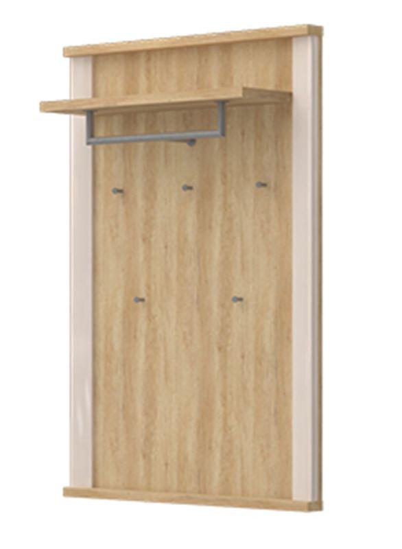 Garderobe Sili 03, Farbe: Eiche Braun / Creme Hochglanz - Abmessungen: 121 x 80 x 29 cm (H x B x T)