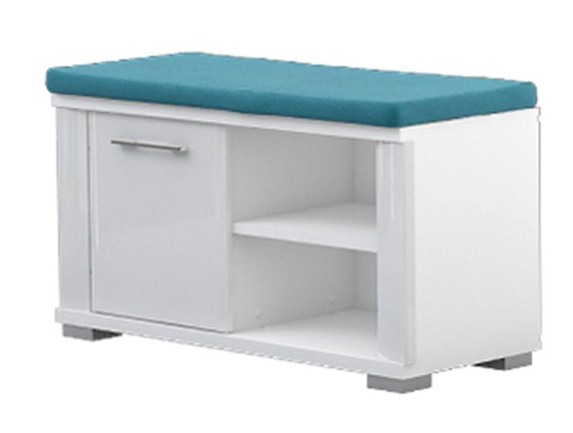Sitzbank mit Stauraum Sili 04, Farbe: Weiß - Abmessungen: 45 x 80 x 36 cm (H x B x T)