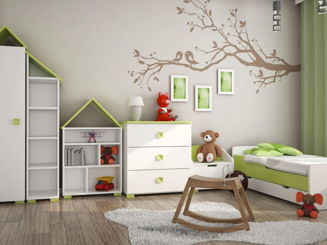 Kinderzimmer Komplett - Set A Daniel, 6-teilig, Farbe: Weiß / Grün