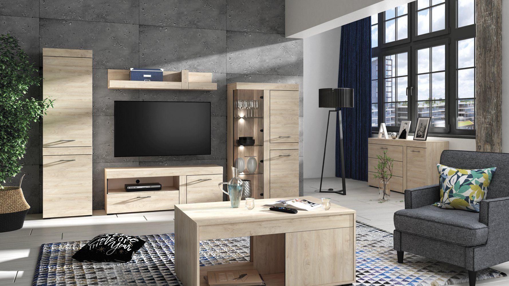 Wohnzimmer Komplett - Set B Decorah, 6-teilig, Farbe: Eiche hell