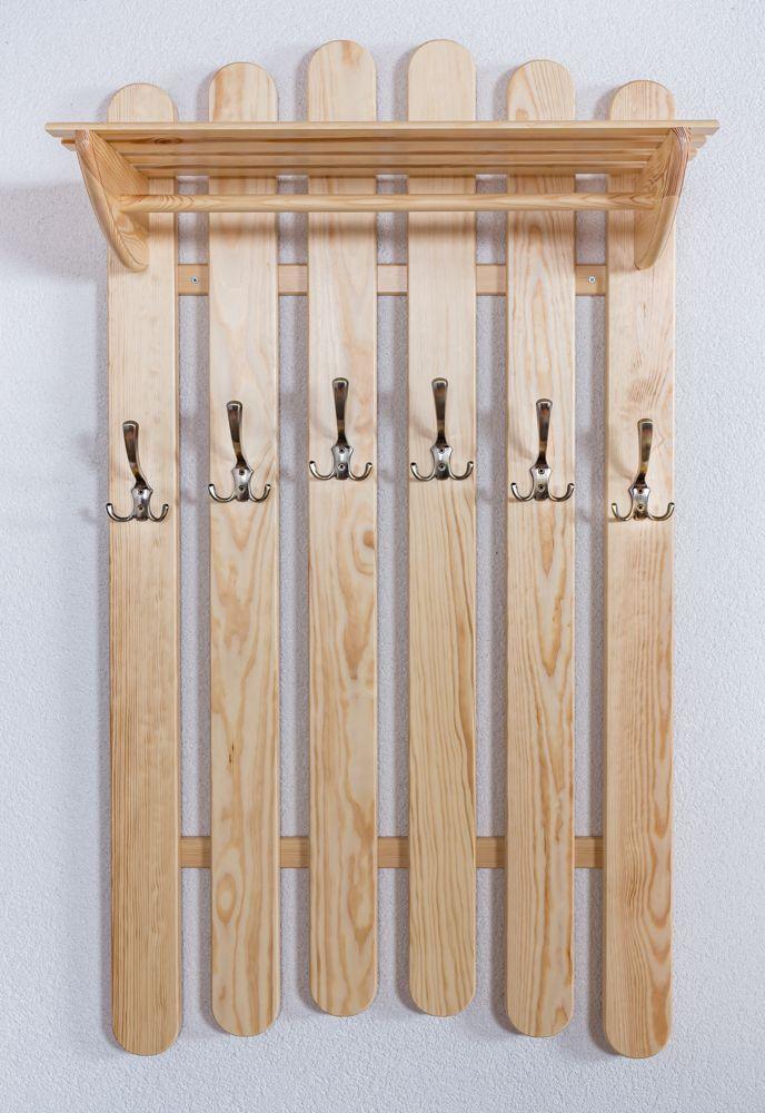 Garderobe Kiefer massiv Vollholz natur Junco 343 – Abmessungen: 130 x 70 x 32 cm (H x B x T)