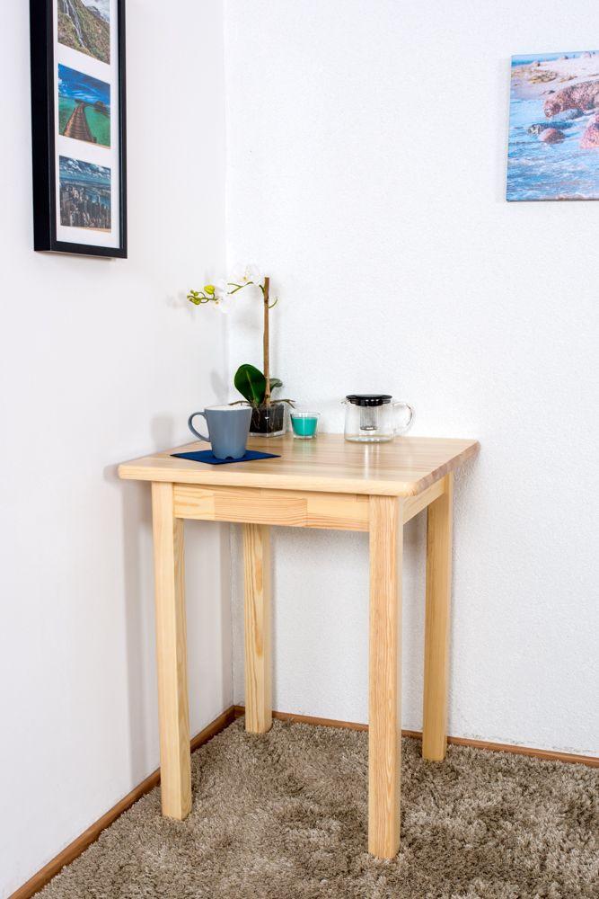 Tisch Kiefer massiv Vollholz natur Junco 233A (eckig) - 60 x 60 cm (B x T)