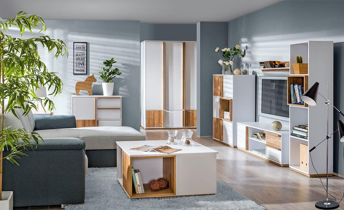 Wohnzimmer Komplett - Set A Lefua, 8-teilig, Farbe: Weiß / Nussfarben