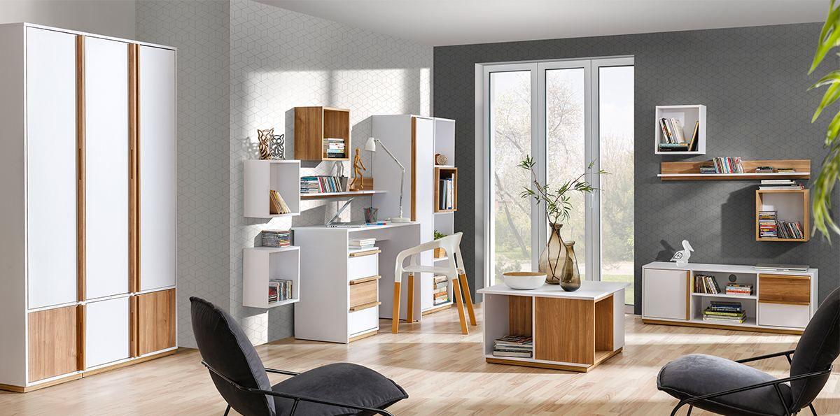 Wohnzimmer Komplett - Set F Lefua, 14-teilig, Farbe: Weiß / Nussfarben
