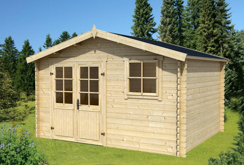 Gartenhaus G95 - 28 mm Blockbohlenhaus, Grundfläche: 10,80 m², Satteldach
