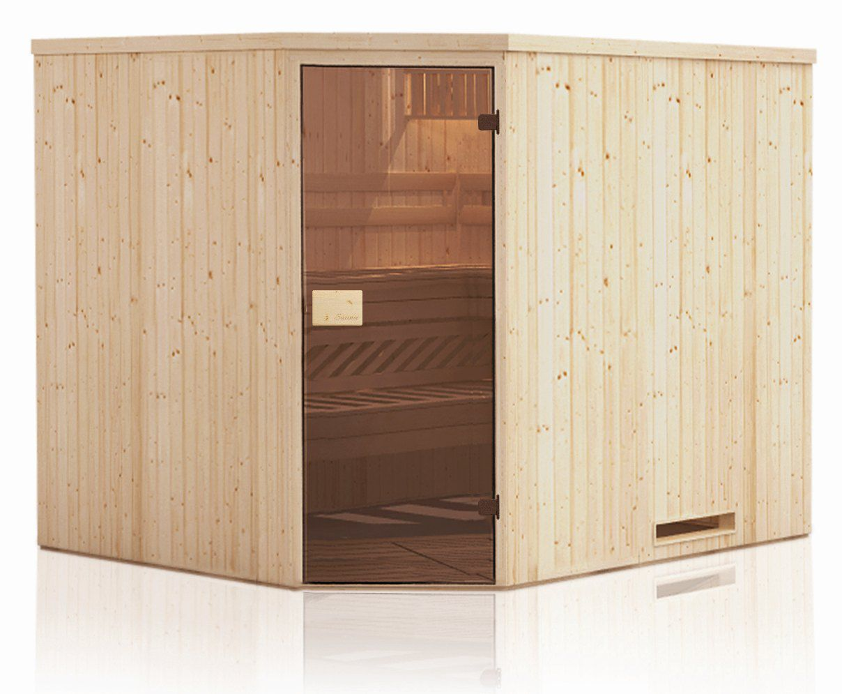 Elementsauna Tirari 68 mm mit Dachkranz - Außenmaße (B x T x H): 144 x 144 x 199 cm