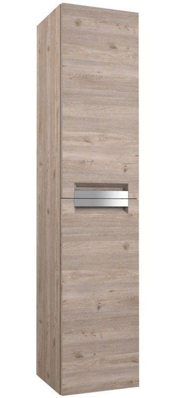 Badezimmer - Hochschrank Meerut 88, Farbe: Eiche Grau – 160 x 35 x 36 cm (H x B x T)
