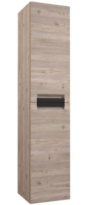 Badezimmer - Hochschrank Meerut 90, Farbe: Eiche Grau – 160 x 35 x 36 cm (H x B x T)