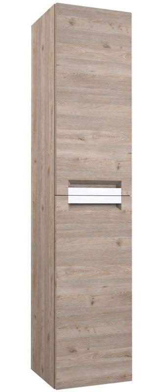 Badezimmer - Hochschrank Meerut 89, Farbe: Eiche Grau – 160 x 35 x 36 cm (H x B x T)