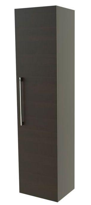 Badezimmer - Hochschrank Nadiad 32, Farbe: Eiche Schwarz – 138 x 35 x 25 cm (H x B x T)